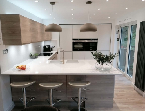 Latest kitchen design – Malton in Stone Elm & Remo in Matt Porcelain